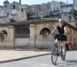 France Bordeaux cyclist old town